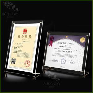 Khung bằng khen A4/A3 MICA TRÀN TRONG SUỐT đẹp sang trọng - chất liệu mica acylic để bàn chân inox, để vừa giấy ảnh 21x30cm/30x42cm
