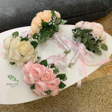 Bó 15 bông hoa mẫu đơn có lá kèm hoa baby và nơ thắt y hình , hoa giả nhân tạohân tạo
