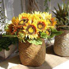 Giỏ hoa hướng dương to (giỏ cói kèm 2 bó hoa) - hoa giả nhân tạo