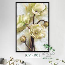 Khung tranh vải canvas hình hoa đẹp nhẹ nhàng (CV197)