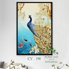 Khung tranh vải canvas hình con công vàng ánh kim (CV198)