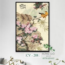 Khung tranh vải canvas hình hoa và chim nghệ thuật Trung Quốc (CV208)