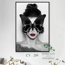 Khung tranh vải canvas hình cô gái và bướm đen trừu tượng (CV209)