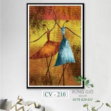 Khung tranh vải canvas hình hai cô gái nghệ thuật trừu tượng (CV210)