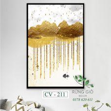 Khung tranh vải canvas hình phong cảnh nghệ thuật vàng lá (CV211)