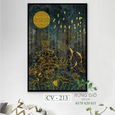 Khung tranh vải canvas hình đàn cá vàng dưới đầm sen trăng (CV213)