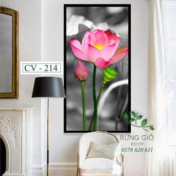 Khung tranh vải canvas hình hoa sen (CV214)