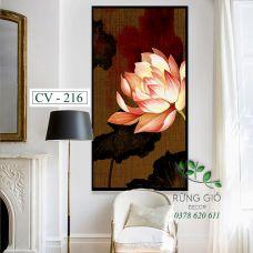 Khung tranh vải canvas hình hoa sen nền vải thưa (CV216)