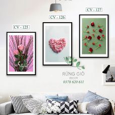 Khung tranh vải canvas hoa hồng biểu tượng tình yêu (Mã CV125-126-127)