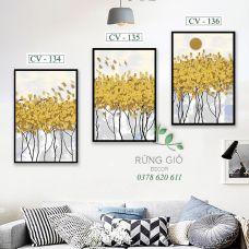 Khung tranh vải canvas hình cây lá vàng trừu tượng(CV134-135-136)