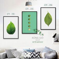 Khung tranh vải canvas hình lá và quả chanh tươi mát (CV152-153-154)