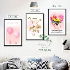 Khung tranh vải canvas hình bóng bay hồng và trái tim tình yêu (CV161-162-163)