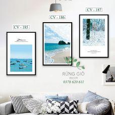 Khung tranh vải canvas cảnh biển xanh đầy nắng (CV185-186-187)