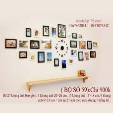 Bộ khung ảnh treo tường trang trí phòng khách - quán cafe trà sữa số 059