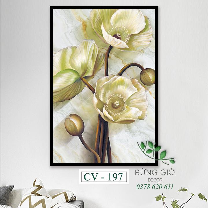 tranh vải canvas hình cô gái và hoa anh đào